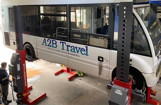A2B Travel adds more Totalkare mobile column lifts to workshop